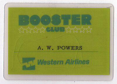 VINTAGE WESTERN AIRLINES Booster Club MEMBERSHIP CARD Aviation AIRLINE WA WAL