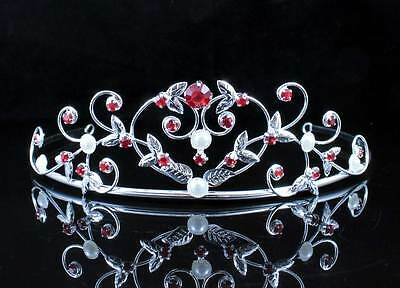 PEARL RED AUSTRIAN RHINESTONE CRYSTAL TIARA HAIR CROWN BRIDAL WEDDING T1535RED