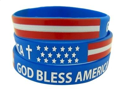 Pack 24 Rot, Weiß und Blau God Bless America Silikon Armband mit Kreuz 20.3cm ()