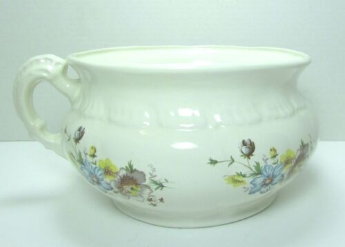 Antique Porcelain Floral White Chamber Pot C. 1800