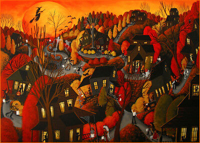 Halloween witch neighborhood night black cat Giclee ACEO print folk art Criswell](Halloween Folk Art Paintings)