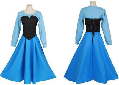 Woman Ariel Princess Cosplay Blue Dress Black Vest Set Mermaid Halloween Costume - Ariel Blue Dress Cosplay