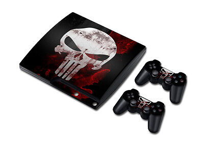 PS3 Playstation 3 Slim Console Skin Decal Sticker The Punisher Skins Set...
