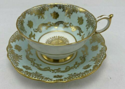Paragon Fine Bone China Footed Cup and Saucer Set H.M. Queen Mary Aqua Gold Gilt