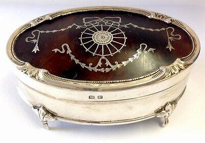 Antique Silver & Faux Tortoiseshell Regency Swag Pique Work Trinket Box