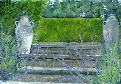 Terry George painting of stone steps at Swannington Manor Norwich