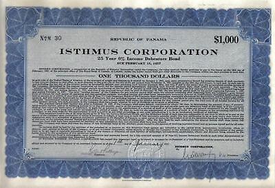 Panama 6% Gold Bond 1932 ISTHMUS Co $1000 Uncancelled