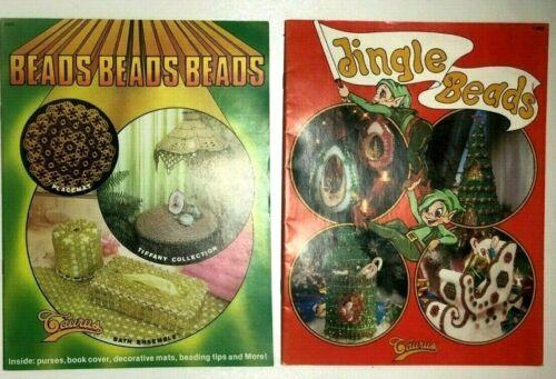2 Beads Beading Patterns Books Christmas Tree, Ornaments, Stocking, Lamp Doily