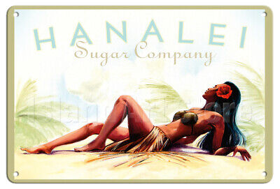Hanalei Sugar, Kauai Hawaii - Koniakowsky - Vintage Travel Poster Metal Tin Sign
