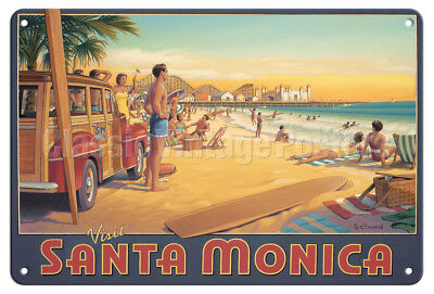 Santa Monica, California - Kerne Erickson - Vintage Travel Poster Metal Tin Sign