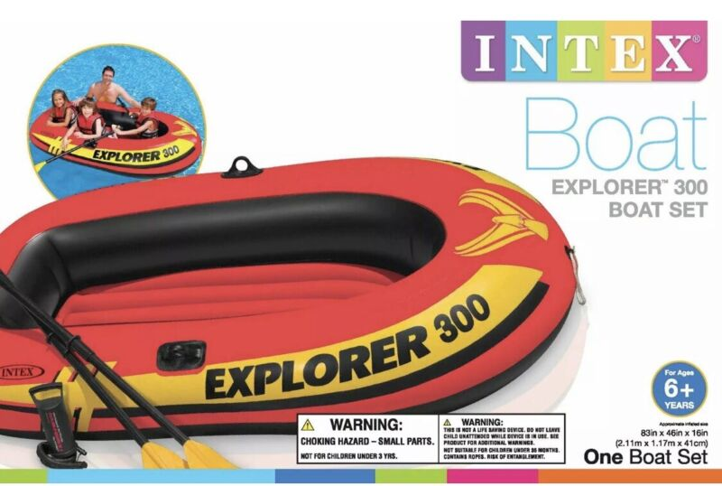 ✅SALE✅ Intex Explorer 300 Compact Inflatable Three Person Raft Boat