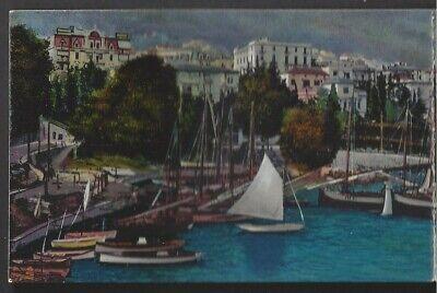 OPATIJA, ABBAZIA, CROATIA, 3 PART PC, TOWN & HARBOR OVERVIEW, BOATS used 1912