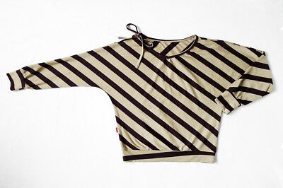 Dolman/Batwing Sleeves Diagonal Striped Tie Shoulder V-neck Tunic/Top/Shirt (Dolman Sleeved V-neck Tunic)