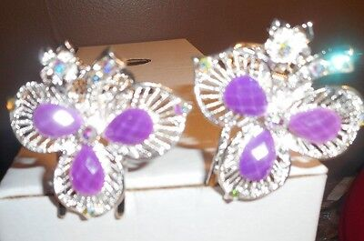 silver rhinestone flower crystal  2 metal hair clip purple for sale  Meredith