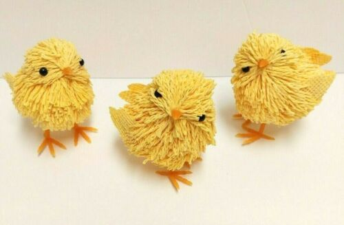 Spring Chicks Lot Of Three Yellow Easter Decorations
