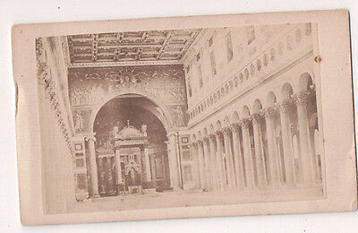 Vintage CDV Interior of Basilica of Saint Paul Outside the Walls Rome (Basilica Of Saint Paul Outside The Walls Rome)
