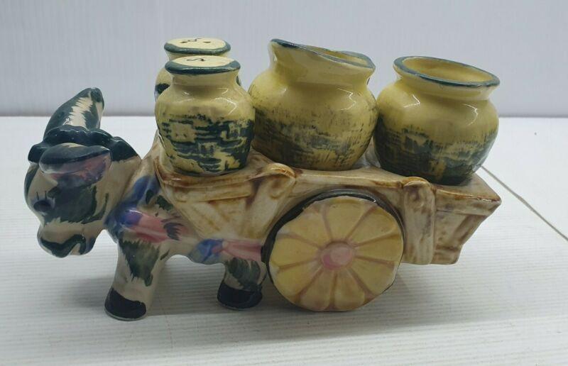 Donkey cart basket creamer sugar retro Vintage Salt and pepper shakers set Japan