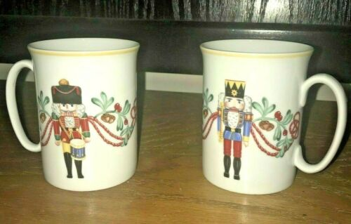 SET of 2 BLOCK SPAL Whimsy Christmas coffee tea Mug Cup 1992 Made Portugal NEW