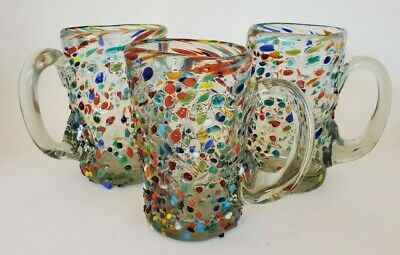 Lot of 3 Murano GOTO Drinking Glass Cups