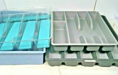 Lot Of 4 Silverware Storage Holder Flatware Cutlery Tray Drawer Organizer -