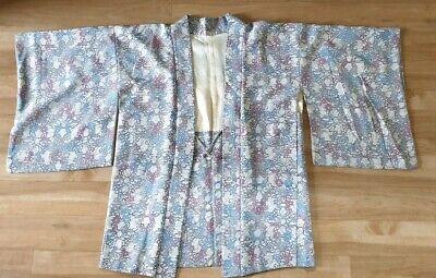 Vintage Japanese Haori Kimono Jacket blues and purples