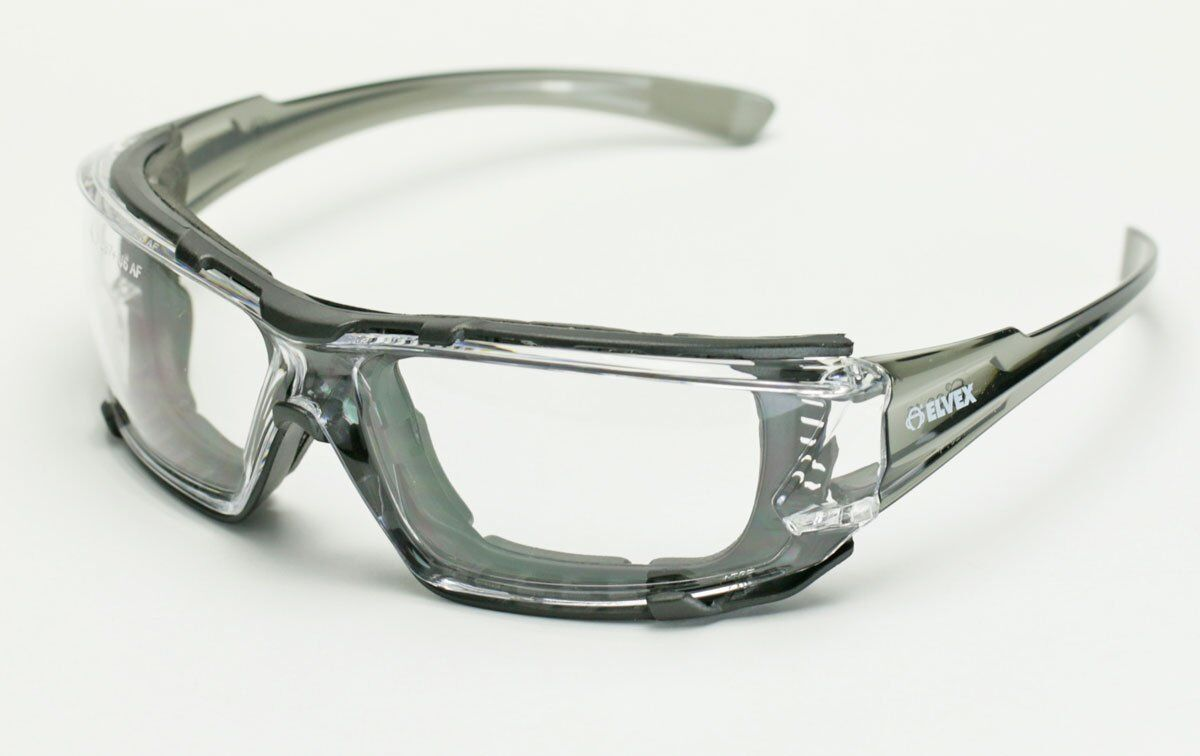Elvex Go Specs IV Safety Glasses,Clear Anti Fog Lens,Foam Line,Grey Temples