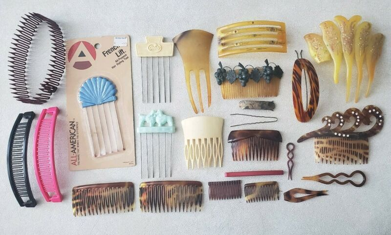 Antique Vintage Tortoise Mantilla French Lift Plastic Metal Hair Combs Lot Group