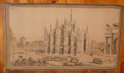 Vintage Italian Wall Hanging Tapestry of Milano Italy
