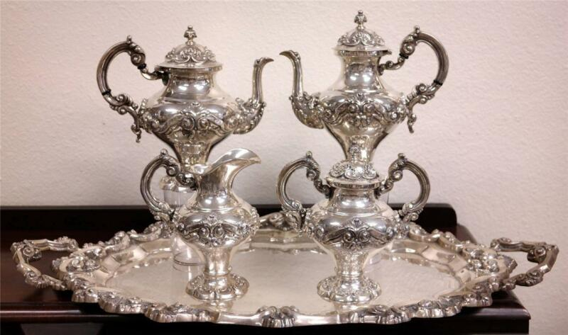 Antique PORTUGUESE Sterling 833 SILVER Five-Piece TEA/Coffee Set & Tray