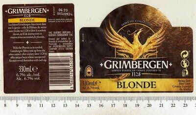 French Beer Label - Kronenbourg Brewery - France - Grimbergen (French Blonde Beer)
