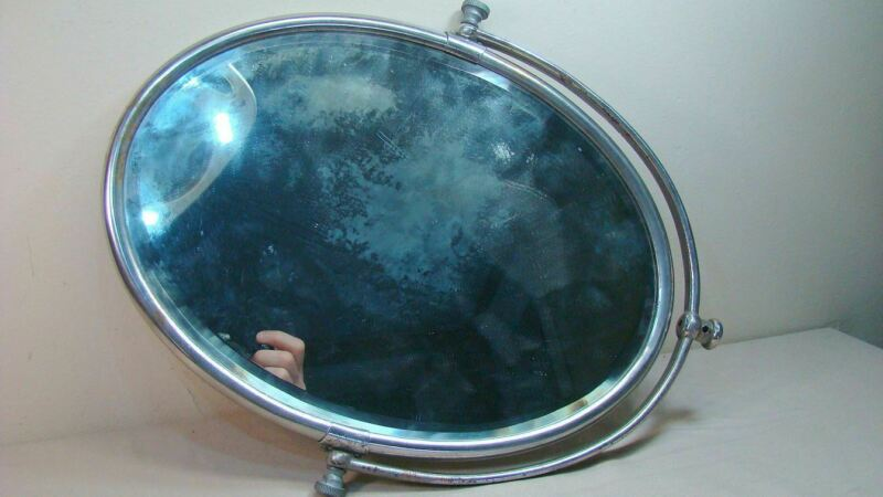 Antique Shaving Mirror Beveled Oval Glass & Metal Frame