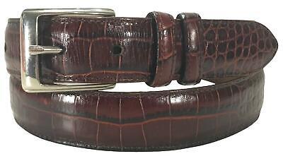 Polo Ralph Lauren Brown Leather Alligator Crocodile Print Belt Men's Size 34 USA