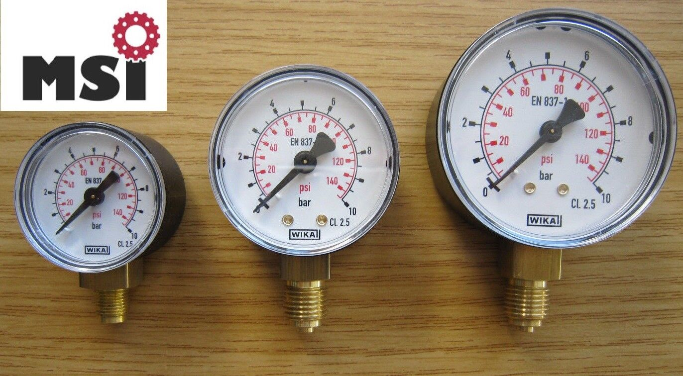 Manometer Druckluft senkrecht  Durchmesser 40mm  63mm  0-10 bar Druckmesser