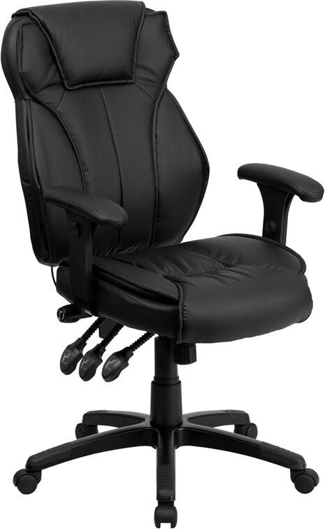 High Back Black Leather Executive Office Chair with Triple P