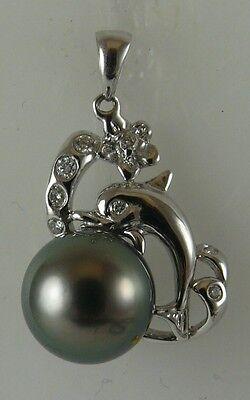 Tahitian Black 10mm Pearl Pendant 18K White Gold Dolphin & Diamonds 0.08ct