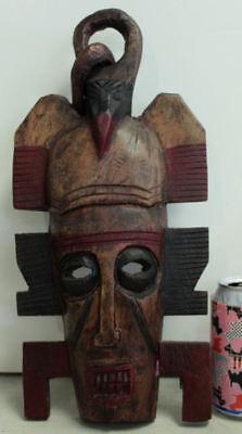 "VINTAGE WOOD CARVED FOLK ART MULTI CULTURE MASK.APPROX 15"" X 9"" Africa?"