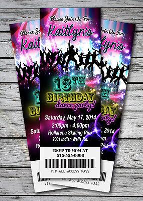 DANCE Disco GLOW NEON Birthday Party Invitation TICKET Stub in the dark GIRL BOY