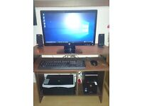 HP DESKTOP PC WITH MONITOR, SPEAKERS, KEYBOARD, MOUSE, WIFI DONGLE AND HP PRINTER