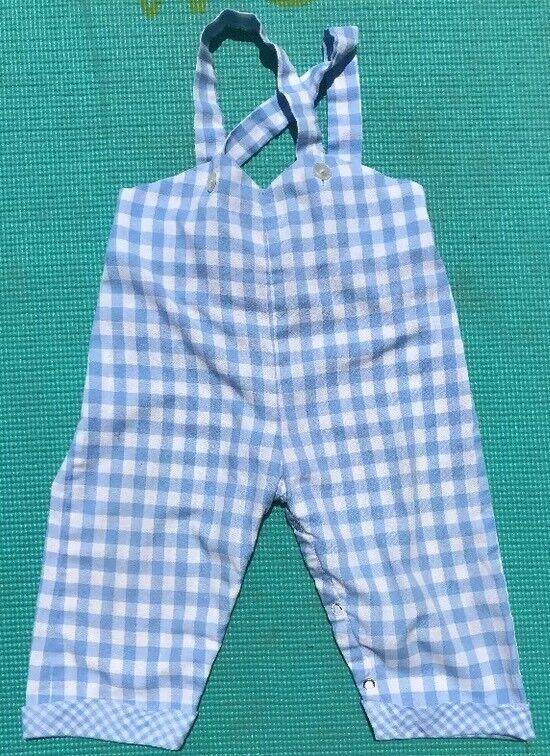 Vintage Bib Overalls Checkered Blue White Size ?12-18 Months?