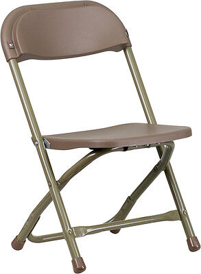 Lot Of 10 Kids Size Brown Plastic Seat Back Steel Frame Folding School Chairs