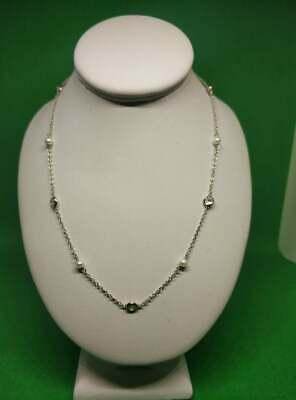 Collana Donna Argento 925/1000 o RODIATO - Con zirconi bianchi e perline