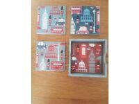 London & Union Jack Coaster & Book Shaped Storage Boxes Decor