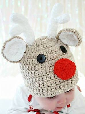 HANDMADE IN UK Crochet Knit Christmas Rudolph Reindeer Hat Baby Child Photo prop](Reindeer Props)