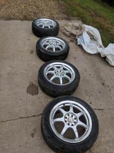 4x100/4x108 rims w/ tires off 2004 Lancer(all seasons)