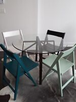 folding wood dining chairs (crate and barrel)