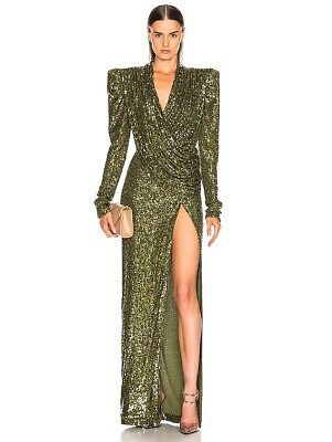 RAISA&VANESSA Sequined Wrap Maxi Dress Gown Khaki Green Luxury 34 XS $2610