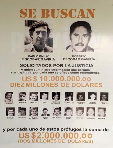 PABLO ESCOBAR DEA WANTED POSTER 8.5 X11 PHOTO REPRINT COLOMBIAN CARTEL SE BUSCAN