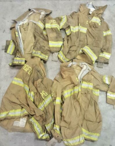 Lot of 4 Securitex Firefighter Turnout Jackets Brown with Yellow Tape No Liners