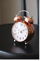 Rose Gold Alarm Clock NO-Ticking Silent Battery Operated Kids Bell Clock Gift