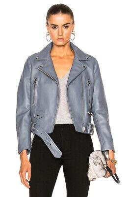 ACNE Studios Mock Leather Moto Jacket in Dirty Slate Blue Size FR 34 $1650